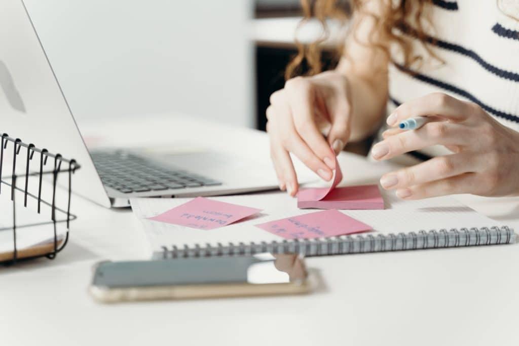 desk with sticky notes